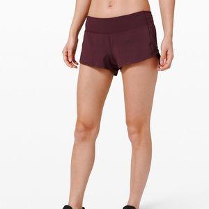 Lululemon burgundy speed up shorts